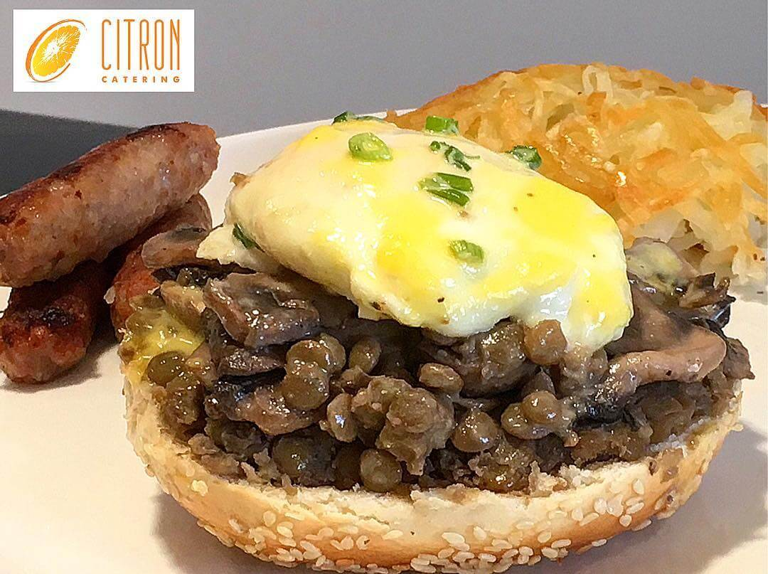 Mornings are never bad when adding sautéed mushrooms and lentils to your eggs Benedict on a bagel