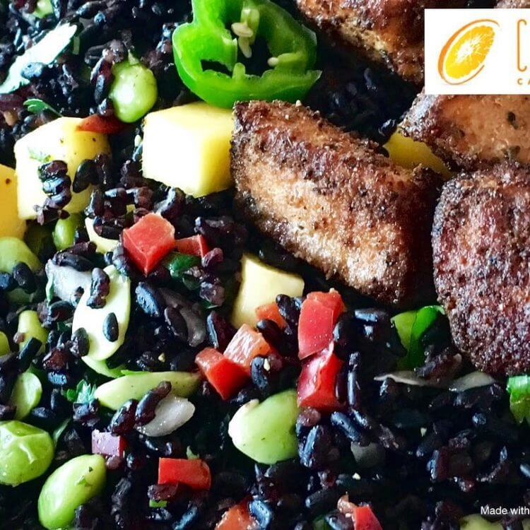 With Halloween ???? fast approaching, be encouraged to create themed foods that are not only healthy, but tasty, too! This Halloween themed salad of Forbidden (BLACK) Rice 〰 (ORANGE) Mango????, Edamame ????, and a BITE with Jalapeño!???? VEGAN unless you add BLACKENED Salmon Medallions (as pictured)